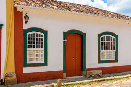 Facade of old house in colonial architecture in the city of Tiradentes, Minas Gerais