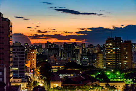 Urban view of the city of Belo Horizonte in Minas Gerais at dusk with its buildings and lights