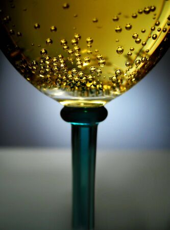 vitreous: floating bubbles in a champagne glass Stock Photo