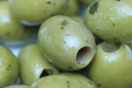 olive green: close-up of green olives Stock Photo