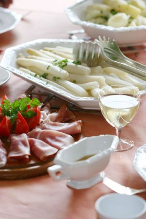 Perfect white asparagus meal with excellent white wine photo