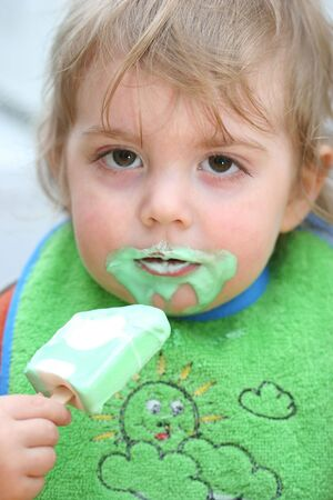 loveable: Two year old boy with icecream