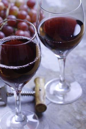 bottleneck: Two glasses of red wine Stock Photo