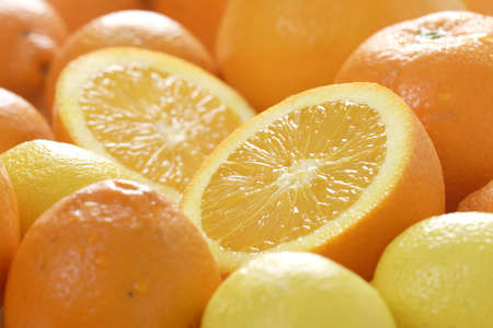 vitamines: Oranges and lemons Stock Photo