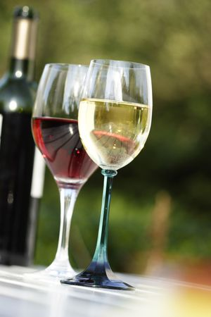 red and white wine: Glass of red wine and white wine