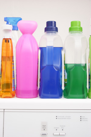 tidiness: Colorful, wash gel, detergent, cleaning, bottles Stock Photo