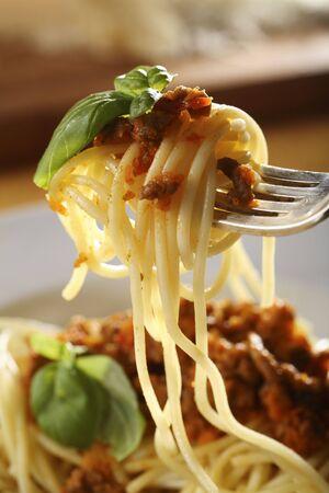 bolognaise: plate with Spaghetti Bolognese Stock Photo