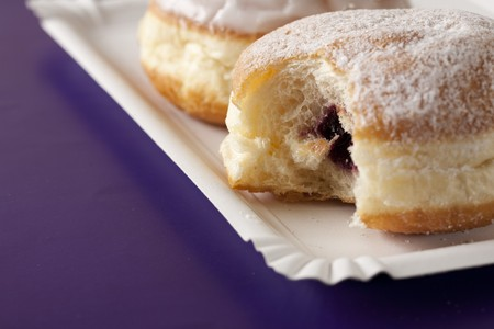 choux: Donut, choux pastry filled with jam Stock Photo