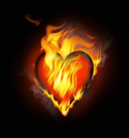burning love: flamy heart