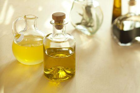 Bottles with oil and balsamic vinegar