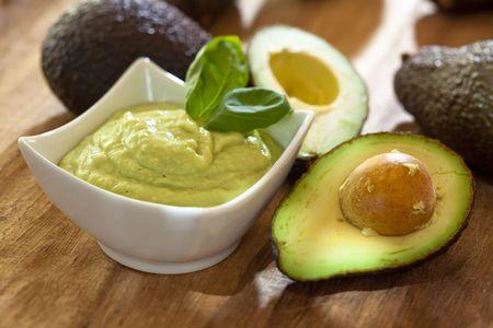 avocados: Avocado mousse with halved avocados