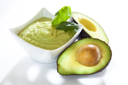 halved: Avocado mousse with halved avocados