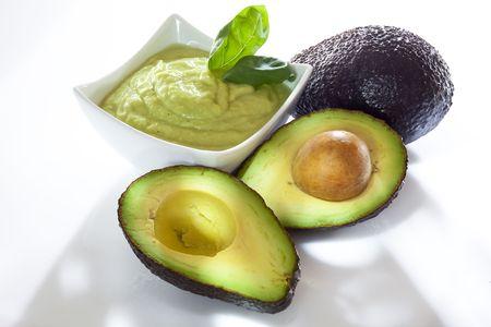 guacamole: Avocado mousse with halved avocados