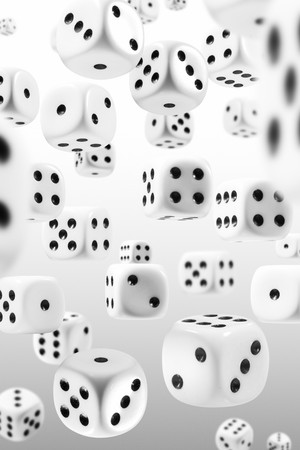 dice: Many dice flying through the perspectives