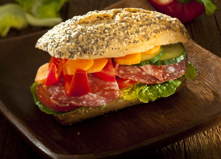 Rich burger with vegetable and salami