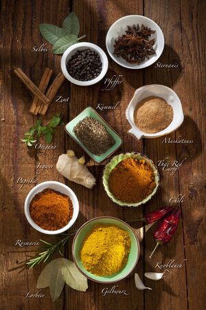 Nice composition of different spices photo