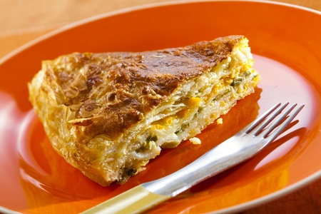 flaky: piece of flaky pastry filled with carrots and spinach