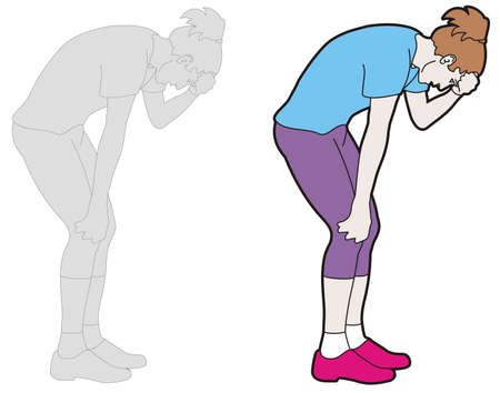Vector drawing of a female tired runner. Sportswoman taking a bow, touching her forehead.