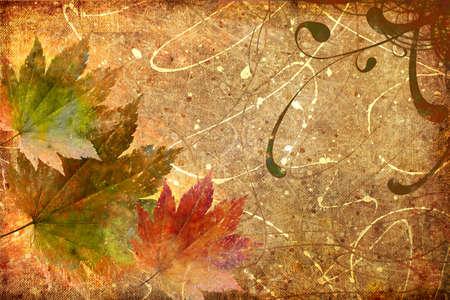 retro grunge background with autumn leaves Stock Photo