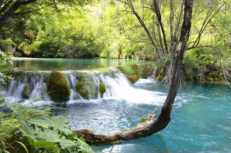 amazing turquoise waterfalls photo