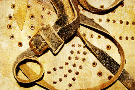 texture of old bag with belts photo