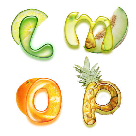alpha: appetizing fonts - alphabet of health  Stock Photo