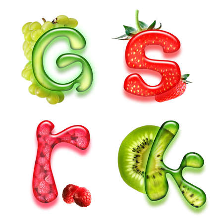 savory: appetizing fonts - alphabet of health  Stock Photo