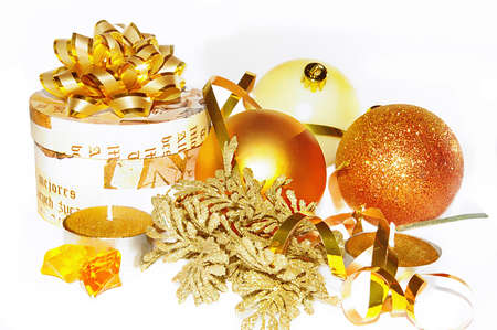 bash: Christmas composition in golden colors