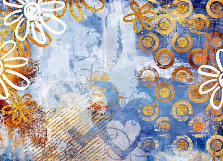 grubby: shabby background in blue-golden colors