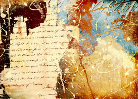 manuscripts: background in grunge style with splatters and hand letter