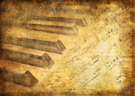 musical background with piano and notes Stock Photo - 2120706