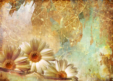 umber: shabby painted background with flowers