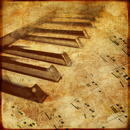 piano: musical background with piano and notes Stock Photo