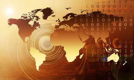world map - hightech concept photo