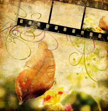 beaty: retro butterfly and film strip Stock Photo