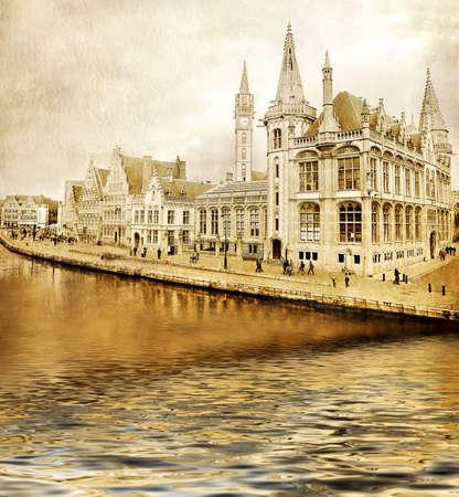 amazing Belgium - toned picture in golden colors photo