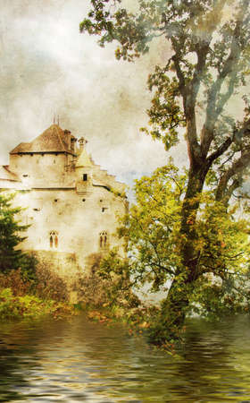 beside: mysterious castle beside lake Stock Photo