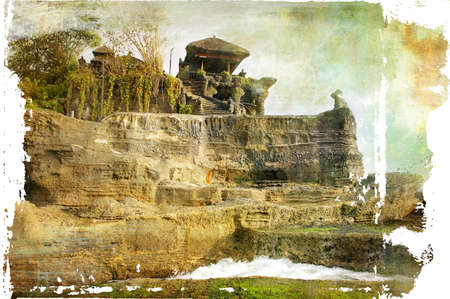 threadbare: Balinese temple on the rock - artistic picture  Stock Photo