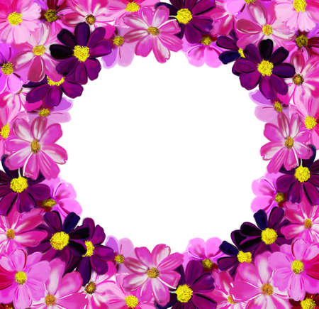 cheerful frame from painted flowers photo