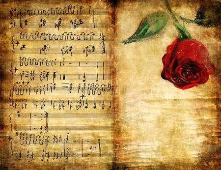 vintage fondo musical con rosa  Foto de archivo