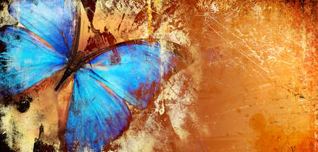 background with blue butterfly Stock Photo