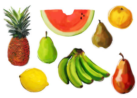 painted fruits assorts photo