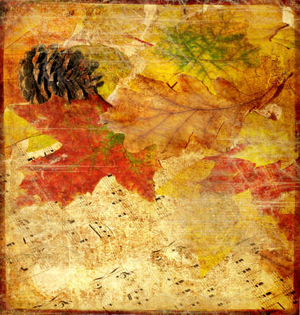vintage background with autumn leaves photo
