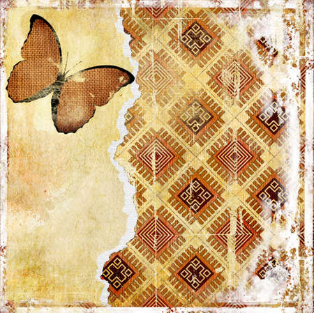 grubby: retro background with butterfly Stock Photo