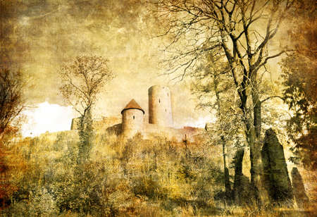 magnificent: ruins of medieval german castle - artistic toned picture