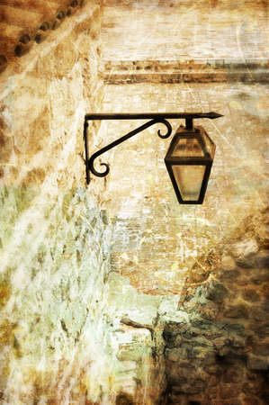 metall texture: old lanterns- toned picture Stock Photo