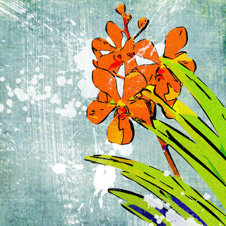 fabrick: blue painted background with flowers