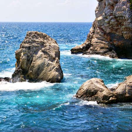 adriatic: turquoise adriatic sea with rocks