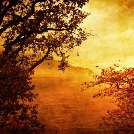 cooper: golden sunset - artistic picture in golden colors Stock Photo