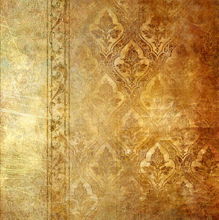 scrap gold: vintage shabby background with patterns